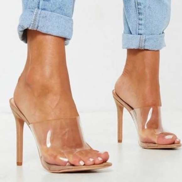 131537d887 Missguided Shoes | Nude Pointed Clear Mules Size 6 | Poshmark